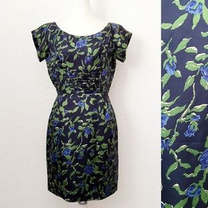 Vintage Blue/Green Floral Silk Wiggle Sheath Dress